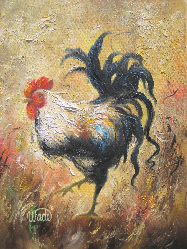 Rooster paintings vickie wade fine art for Art and craft drawing and painting