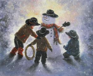 Snowman and Three Little Cowboys