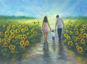 Sunflower Walk With Mom and Dad
