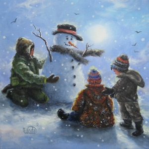 Peg Ryan's 3 boys and snowman