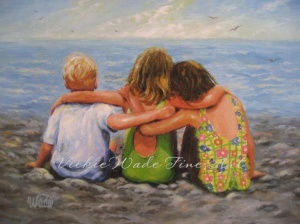 Three Beach Children Hugging W 003