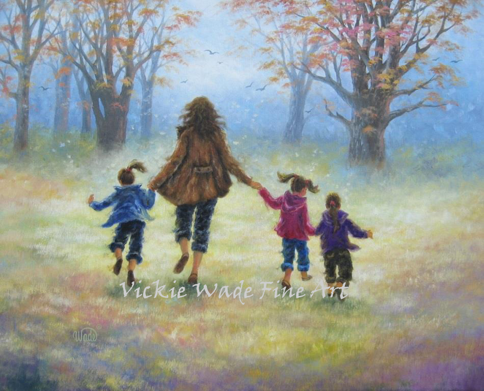 Mother And Three Daughters Out For A Walk Original