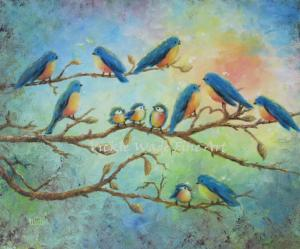 Blue birds on Branches 003 - WCopy