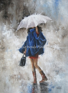 Rain Girl in Blue W004