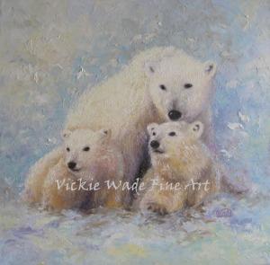 Polar Bear Mother and Cubs W029