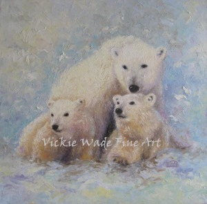 Polar Bear Mother and Cubs W029