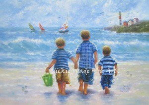 Three Little Beach Boys Walking - Copy