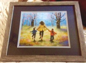 Mother and Two Daughter out for a Walk framed Geraldine